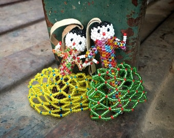 Pair of Hand Beaded Miniature Doll Ornament for Christmas Tree, Holiday Decoration, Zuni Native American Indian Beadwork, Good Luck Charm