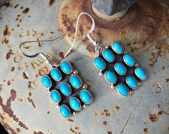 Turquoise Cluster Dangle Earrings Signed Navajo Jewelry, Native American Indian Jewelry