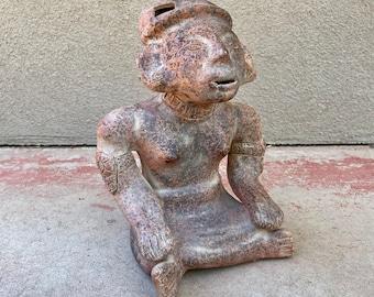 Large Vintage Mexican Folk Art Pre Colombian Pottery Reproduction Statue Fertility Goddess Effigy