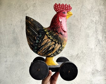 Wooden Rooster Statue on Wheels Chicken Folk Art, Primitive Decor, Rustic Home Decor