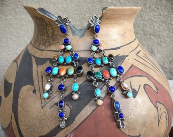 28g Navajo Multi Stone Turquoise and Lapis Chandelier Earrings, Native American Indian Jewelry