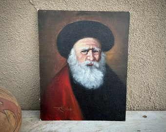 8x10 Unframed Oil Painting Portrait of French Astrologer Nostradamus Signed J Fuller, Original Art