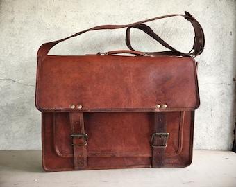 Vintage Brown Leather Messenger Bag for Men Shoulder Bag Distressed Leather Laptop Bag for School