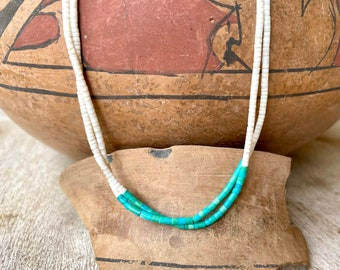 """16"""" Fine Two-Strand White Shell and Turquoise Heishi Choker Necklace, Native America Jewelry"""