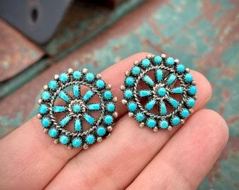 Clip On Earrings Zuni Snake Eye Vintage Turquoise Earrings, Old Pawn Earrings, Native American