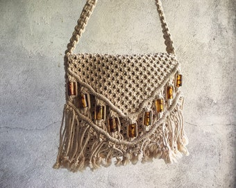 Vintage Macrame Shoulder Bag with Faux Amber Beads, Boho Hippie Fold Over Purse for Women