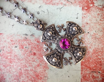Large Silver Cross Pendant Necklace with Pink Glass Rhinestone on Linked Chain, Crusaders Cross
