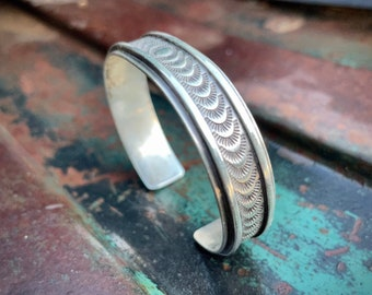 31g Vintage Stamped Sterling Silver Cuff Bracelet Unisex Men or Women, Traditional Navajo Jewelry