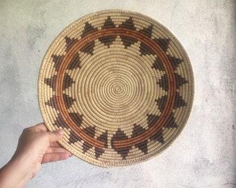 Vintage Coiled Basket Bohemian Decor, Southwestern Decor, Native Style Woven Basket Wall Decor, Basket Weaving Eclectic Decor, Gift for Mom