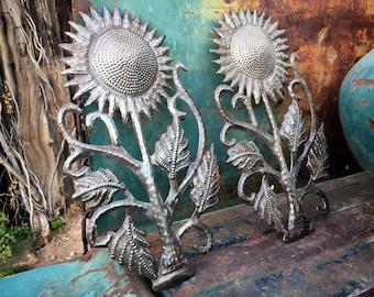 Pair of Haitian Steel Drum Folk Art Wall Hangings Sunflower Design, Beach Wedding Home Decor