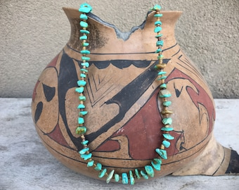 Chip Turquoise Necklace for Women, Santo Domingo Native America Indian Jewelry
