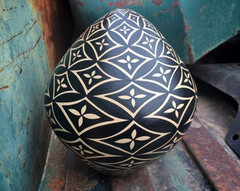 Hand Coiled Black Seed Vase Jar with Painted Geometric Design Signed P.M. Tosa, Southwestern Decor