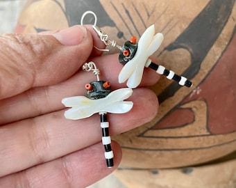 Black Onyx White Mother of Pearl Dragonfly Fetish Earrings, Southwestern Jewelry, June Birthstone