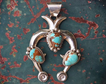 Signed Navajo Sandcast Silver and Turquoise Naja Pendant for Necklace, Native American Indian Jewelry