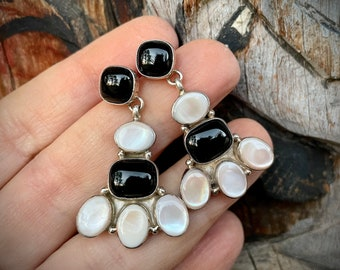 Black Onyx White Mother of Pearl Cluster Earrings for Women, Navajo Native America Indian Jewelry