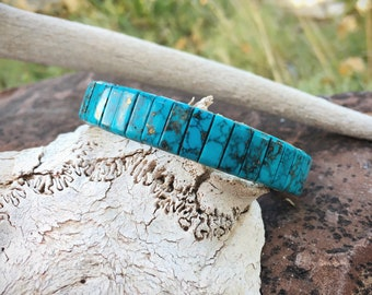 Vintage Stretch Bracelet Wrist Band with Block Turquoise, Southwestern Native American Indian Style