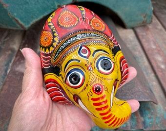 Small Vintage Lord Ganesh Elephant Paper Mache Wall Hanging, Hindu Hippie Bohemian Decor