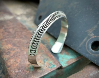 34g Carinated Sterling Silver Unisex Cuff Bracelet by Navajo Randy Secatero, Native American Jewelry