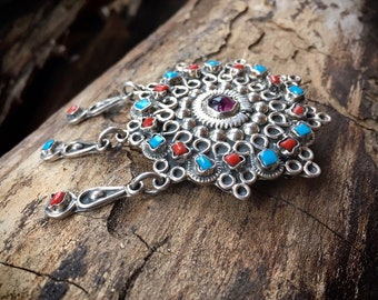 Vintage Taxco Silver Turquoise Coral and Amethyst Brooch Pendant, Mexican Jewelry Matilde Poulat Style