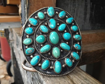 113g HUGE Natural Turquoise Cluster Cuff Bracelet Unisex, Native America Indian Heirloom Jewelry