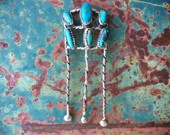 Vintage Navajo Silver Twist Wire Turquoise Hairpin, Native American Indian Hair Comb