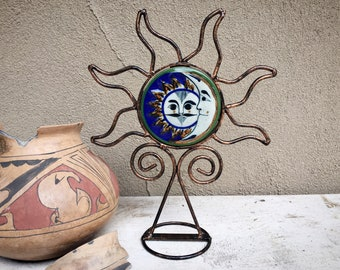 "Vintage 12-1/2"" Metal Ceramic Sun Face Candle Holder, Sunburst Votive Rustic Boho Decor"
