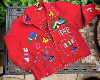Child's 1950s Mexican Embroidered Wool Jacket Red with Colorful Details (Moth Damage)