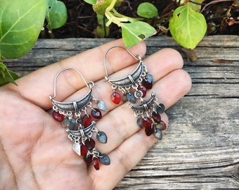 Vintage Tribal Silver Hoops with Dangles Ethnic Earrings Women, Bohemian Jewelry