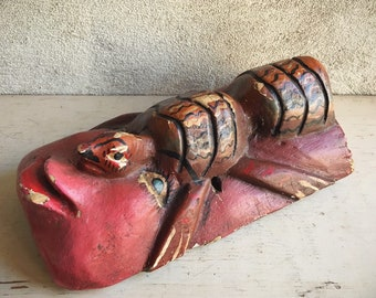 Vintage Wooden Mask Turtle Tortoise Man, Mexican Folk Art, Ceremonial Mask Wall Hanging