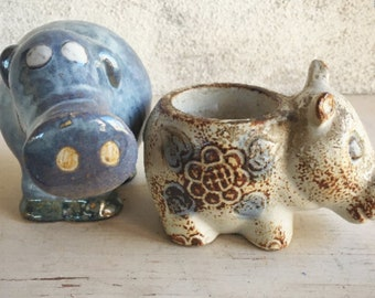 Pottery Hippos Midcentury Decor, Adorable Hippo Gifts for Hippo Lovers, Ceramic Hippos