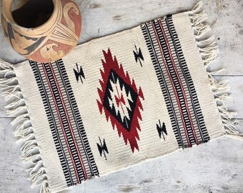 Woven Wool Placemat Wall Hanging Tapestry or Table Runner Rustic Decor, Small Accent Rug Zapotec, Southwestern Mexican Decor