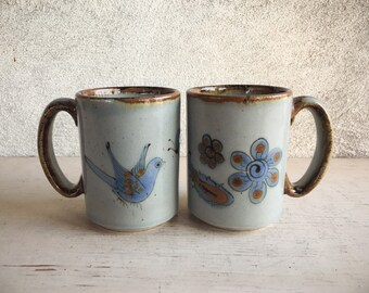 Pair of Vintage El Palomar Ceramic Coffee Mugs, Tonala Pottery Coffee Cups, Ken Edwards Mexican Pottery