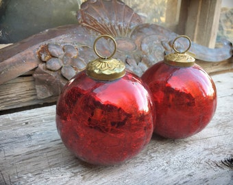 Vintage Red Mercury Glass Christmas Ornament Kugel Style Ornaments Christmas Decorations, Christmas Decor, Holiday Decor, Gift for Hostess