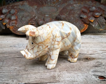 Carved Marble Pig Figurine from Mexico, Southwestern Shelf Decor, Hog Lover Farm Animal Gift