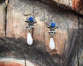 Faux Sapphire Blue Rhinestone Faux Pearl Earrings for Women, Silver Blue Birthstone