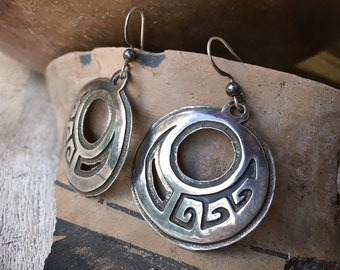 Zuni Myron Panteah Sterling Silver Overlay Hoop Earrings for Women, Native American Indian Jewelry