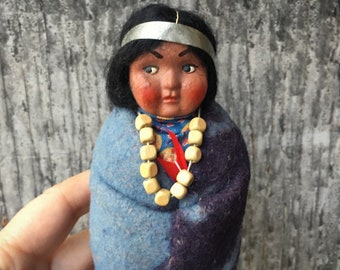 "6.5"" Tall Female Skookum Doll Looking Right, 1950s Composition Head Plastic Feet, Bully Good"