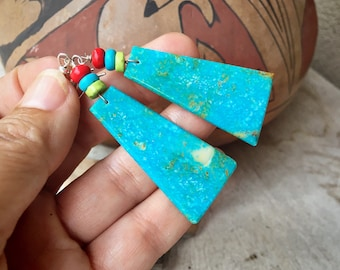 Big Turquoise Slab Earrings with Spiny Oyster Beads, Santo Domingo Native American Indian Jewelry