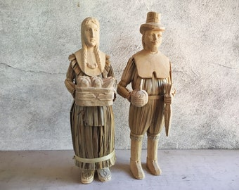 Corn Husk Dolls Wood Carved Pilgrim Man Native American Woman, Vintage Thanksgiving Decor