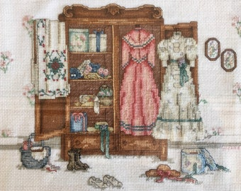 1988 Needlepoint Cross Stitch Country Sampler Victorian Dresses Framed Wall Art Hanging
