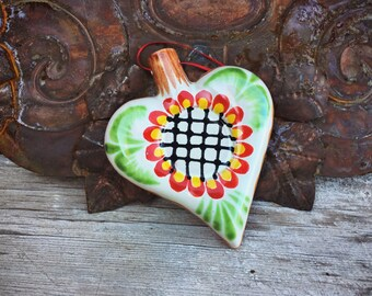 Mexican Ceramic Heart Christmas Ornament, Holiday Decorations, Heart Gifts for Neighbor