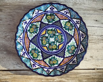 Talavera Pottery Plate Wall Hanging, Puebla Mexico Pottery, Mexican Decor, Housewarming Gift, Bohemian Decor Blue and White Spanish Plate