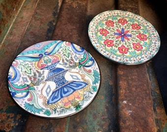 Two Handmade Spanish Miniature Wall Plates by Ceraplate, Blue and White Mexican Pottery