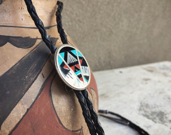 Vintage Turquoise Bolo Tie for Men Women Channel Inlay Black Onyx Coral, Zuni Native American Indian Bola