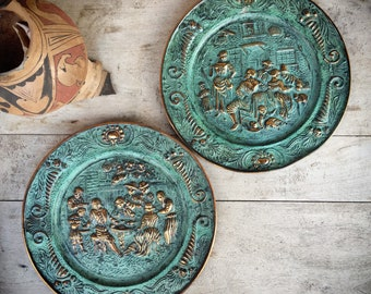 Vintage English Brass Bas Relief Plate Wall Hangings, Country Cottage Kitchen Decor, Colonial Style