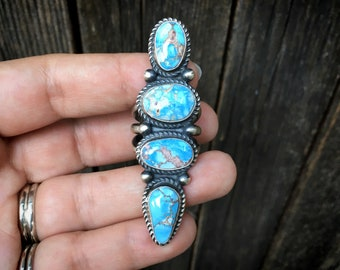 Huge Navajo Golden Hills Turquoise Ring for Women, Native American Indian Sterling Silver Jewelry