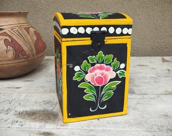 Vintage Painted Wooden Box Floral Decor Pink and Yellow, Hippie Decor Stash Box Bohemian Decor