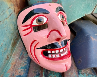 Carved Wooden Mask Wall Hanging Mexican Folk Art, Southwestern Bohemian Home Decor Ethnographic