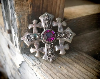 Vintage Sterling Silver Jerusalem Cross Pendant Brooch with Purple Rhinestone, Five-Fold Crusaders