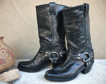 1970s Black Leather Motorcycle Boots Women's Size 6.5 (Run Small) Made in USA, Square Toe Cowgirl